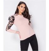 PARISIAN Flocktryck Sheer Organza High Neck Ärmlös Top - kvinnor - Pink