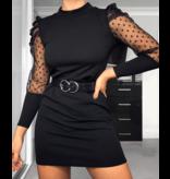 PARISIAN Polka Dot Sheer Puffed Sleeve Bodycon Klänning - kvinnor - Svart