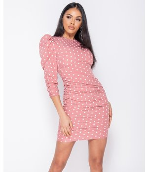 PARISIAN Polka Dot Puff Sleeve Ruching Detalj Bodycon Dress - Pink
