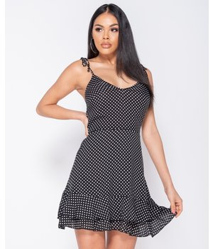 PARISIAN Polka Dot Tiered Hem Mini Strappy Dress - kvinnor-svart