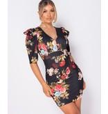 PARISIAN Floral Print Puffed - Bodycon Miniklänning - kvinnor - Svart