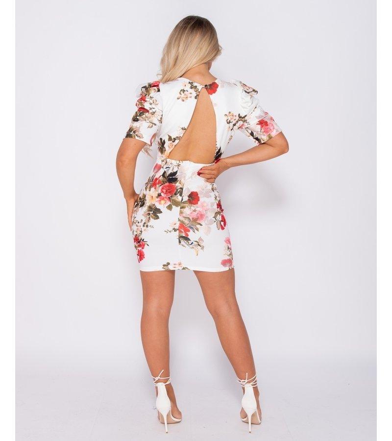 PARISIAN Puffed Floral Print Bodycon Klänning - kvinnor - Vit