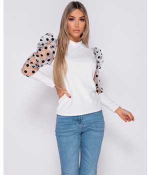PARISIAN Organza Polka Dot Puffed - High Neck Top - kvinnor - Vit
