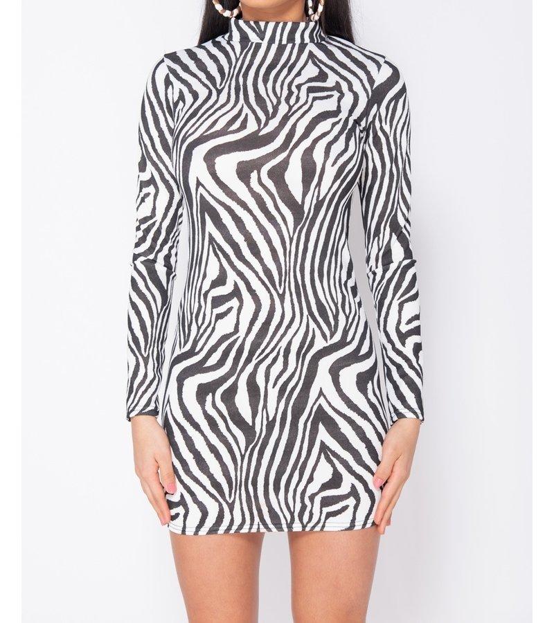 PARISIAN Zebra Print High Neck - Bodycon Dress - kvinnor - Vit