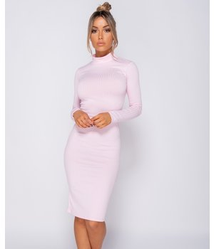 PARISIAN Rib Knit Polo Neck - Midi Dress - kvinnor - Pink