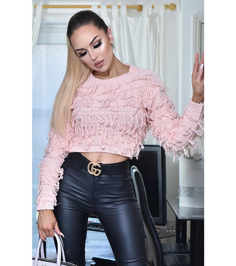 CATWALK Poppy Tassle Knitted Jumper Top - kvinnor - Pink