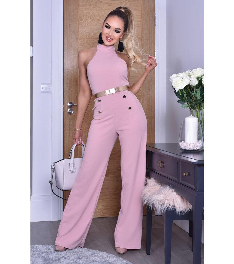 CATWALK Katrina Button Halter Jumpsuit - kvinnor - Pink