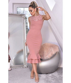 CATWALK Miranda Lace Fishtail Dress - kvinnor - Pink