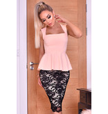 CATWALK Pamela Contrast Lace Peplum Klänning - kvinnor - Pink
