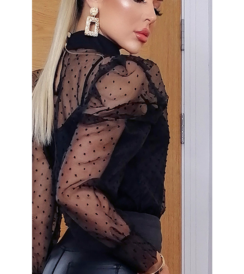 CATWALK Lilly Polka Dot Puffed Sleeve Top - kvinnor - Svart