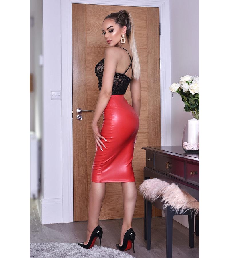 CATWALK Kellie PU Midi Skirt - kvinnor - Röd