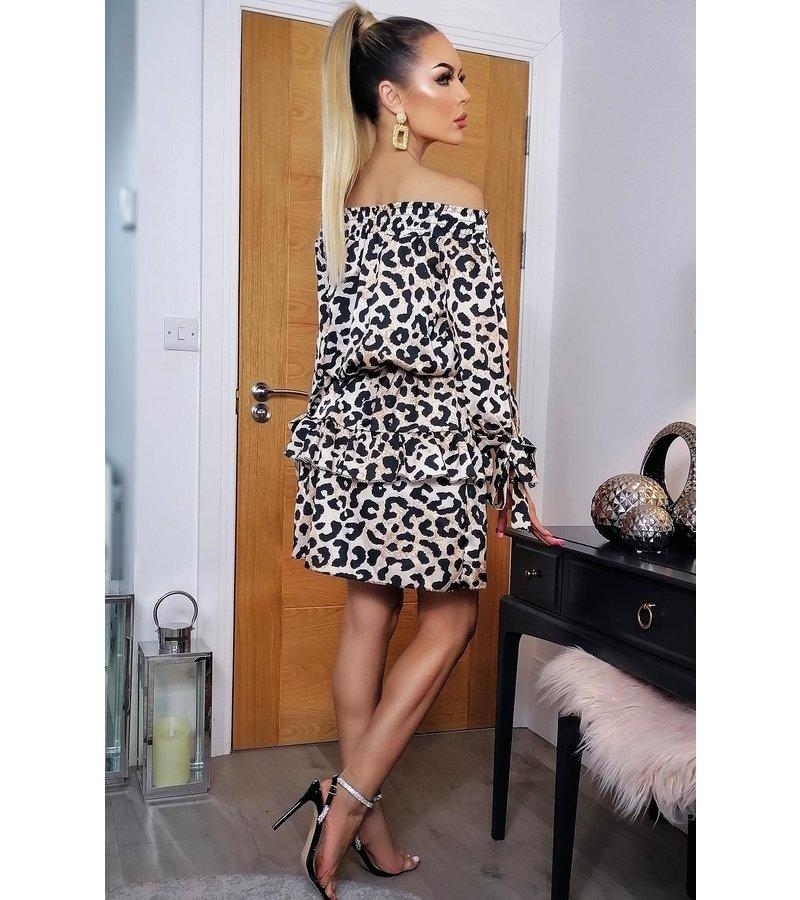 CATWALK Maggie Bardot Animal Frill Dress - kvinnor - Brown