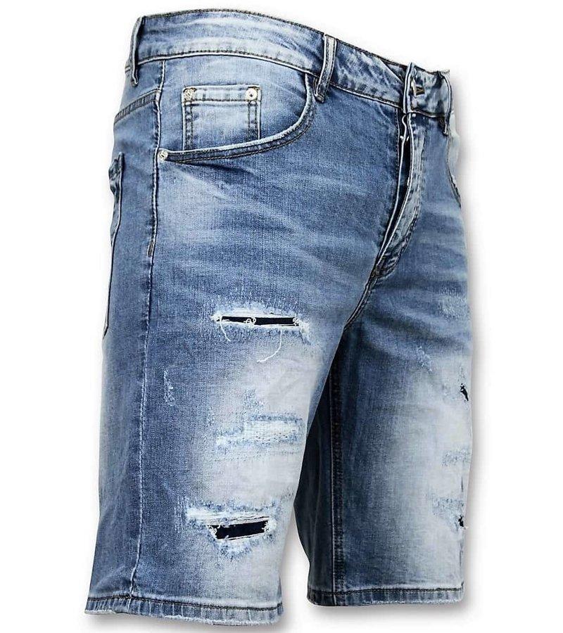 Enos Män Korta byxor - Ripped Jeans Short - 9086 - Blå