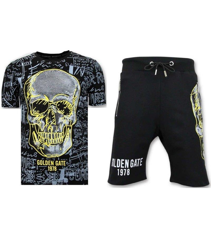 Enos Jogging Short - Neon Skull Print - F7356 / 7 - Svart