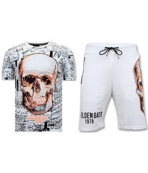 Enos Jogging Short - Neon Skull Print - F7356 / 7 - Vit