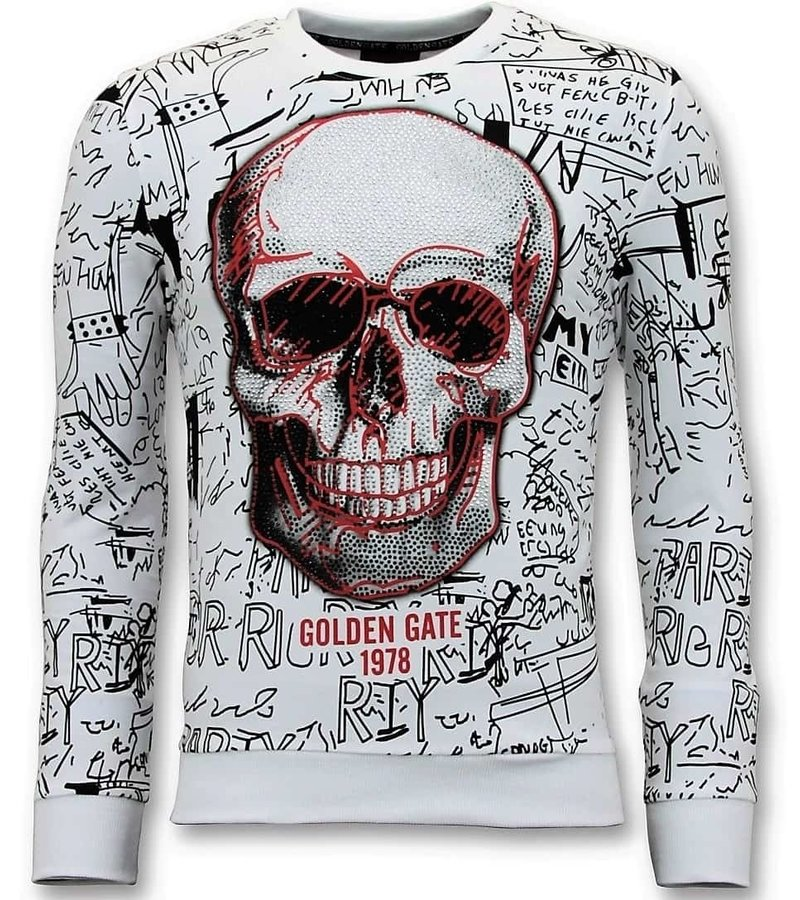 Enos Män Utskrifts Sweater - Skull Crew Neck - Vit