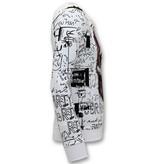 Enos Män Jogging Kostym Med Print - Neon Skull - Vit