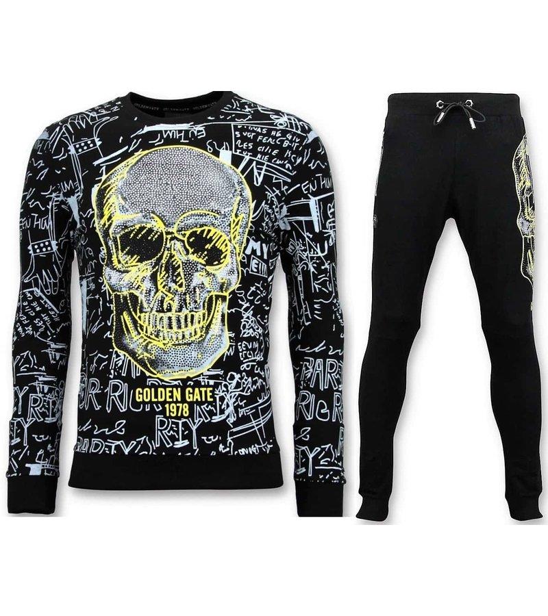 Enos Män Jogging Kostym med Print - Neongul Skull - Svart