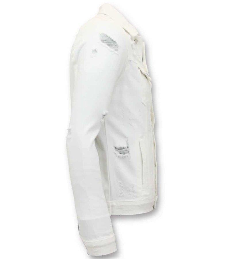 Enos Denim Jacket Män - Ripped Denim - RJ-9070 - Vit