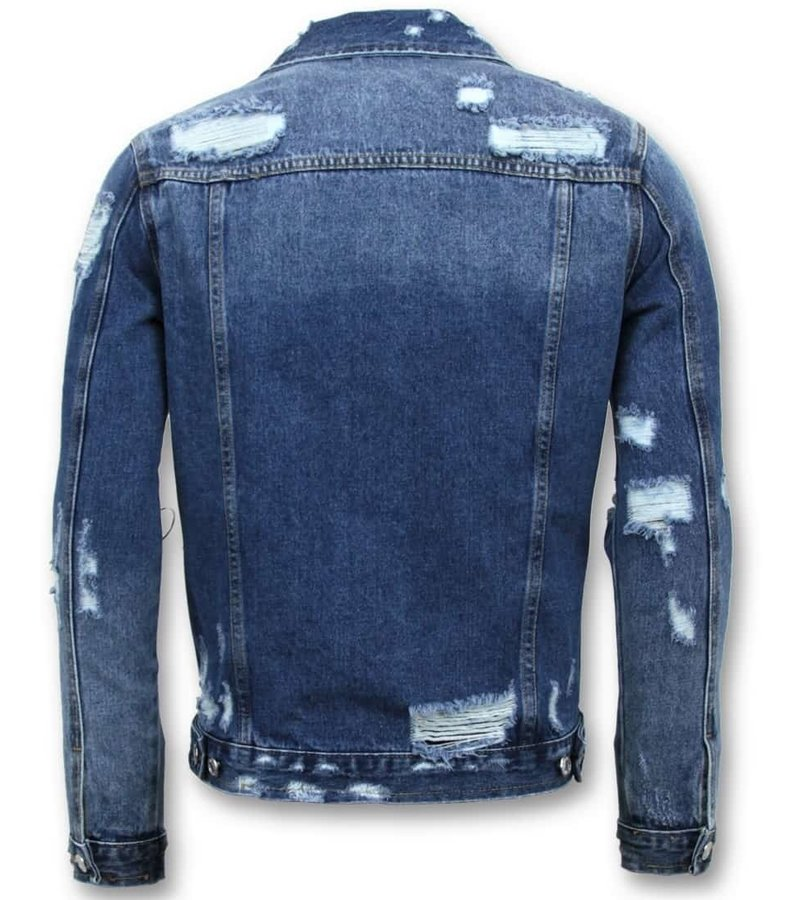 Enos Denim Jacket Män - Ripped Denim - RJ-9026 - Blå