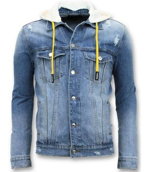 Enos Denim Jacket Män - Ripped Med Huva - RJ-9027 - Blå