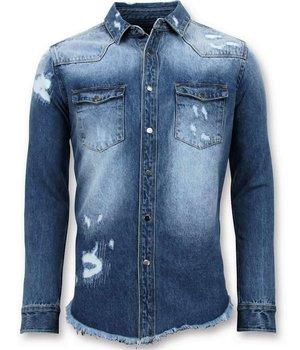 Enos Long Denim Shirt - Män Denim Blouse - 9023 - Blå