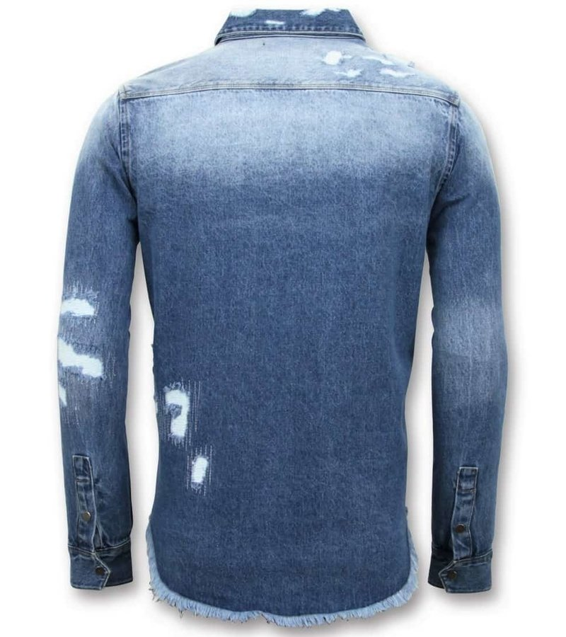 Enos Long Denim Shirt - Män s Denim Blouse - blå