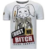 Local Fanatic Män T shirt Med Tryck - Lita No Bitch - 11-6383W - Vit