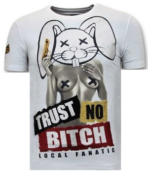 Local Fanatic Män T shirt Med Tryck - Lita No Bitch - 11-6383W - Vit