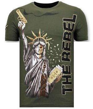 Local Fanatic Män T-shirt med Rhinestone - The Rebel - 11-6387G - Grön