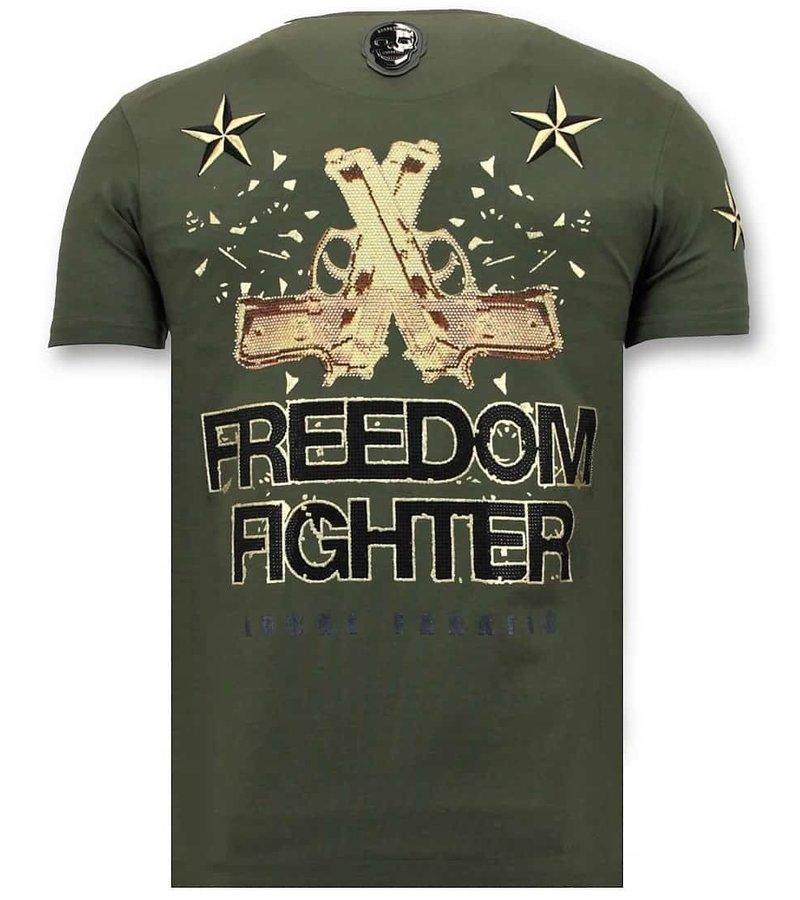 Local Fanatic Män T-shirt med Rhinestone - The Rebel - 11-6387G - Grön