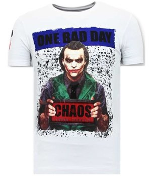 Local Fanatic Tuff Män T-shirt - The Joker Man - 11-6363W - Vit