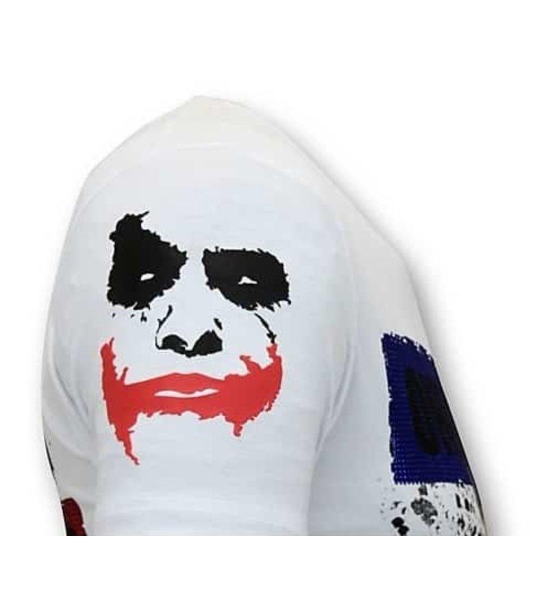 Local Fanatic Tuff Män T-shirt - The Joker Man - 11-6363W - Vit
