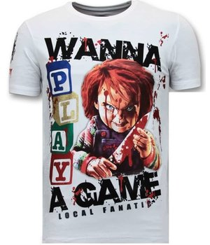 Local Fanatic Exklusiv Män T-shirt - Chucky Childs Play - 11-6365W - Vit
