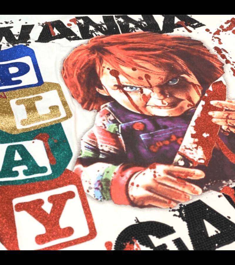 Local Fanatic Exklusiv Män T-shirt - Chucky Childs Play - 11-6365W - Vit