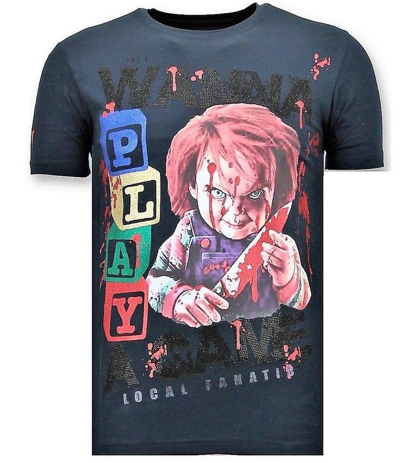 Local Fanatic Lyx Män T-shirt - Chucky Childs Play - 11-6365N - Blå
