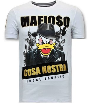 Local Fanatic Tuff Män T-shirt - Cosa Nostra Mafioso - 11-6371W - Vit