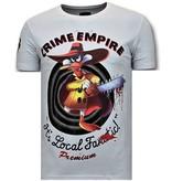 Local Fanatic Lyx Män T-shirt - Crime Empire - 11-6389W - Vit