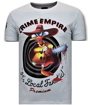 Local Fanatic Lyx Män T-shirt - Crime Empire - 11-6389W - Vit