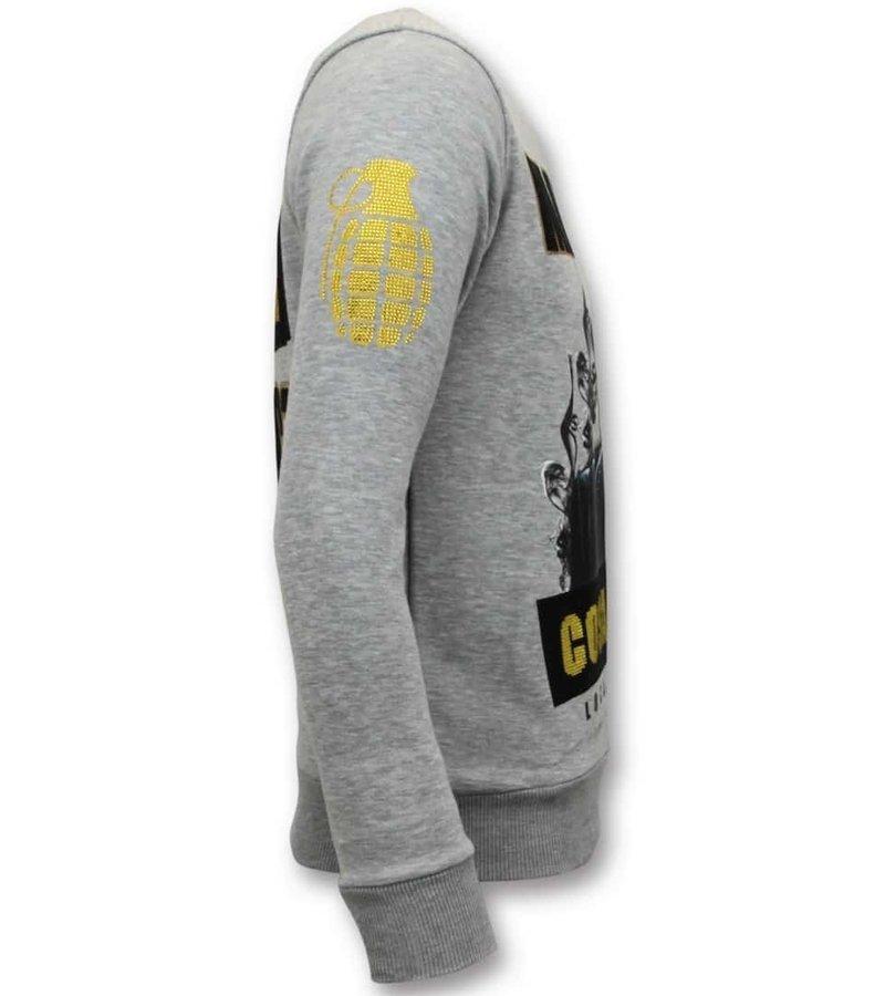 Local Fanatic Exklusiv Män Sweater - Cosa Nostra Mafioso - 11-6381G - Grå