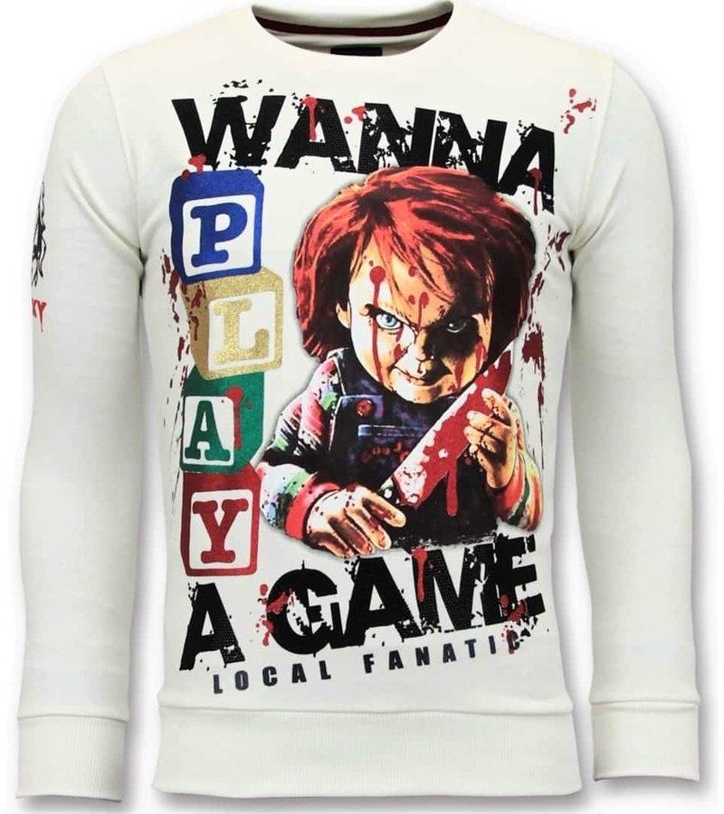 Local Fanatic Exklusiv Män Sweater - Chucky Childs Play - 11-6375W - Vit