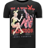 Local Fanatic Lyx Män T skjorta - The Playtoy Mansion - 11-6386Z - Svart