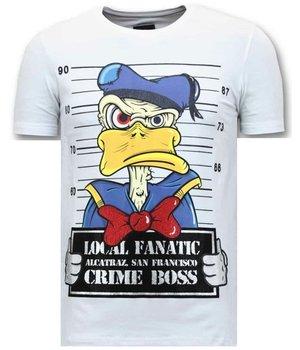 Local Fanatic Män T-tröja Exclusive - Alcatraz Prisoner - 11-6385W - Vit