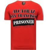 Local Fanatic Lyx Män T skjorta - Alcatraz Prisoner - 11-6385R - Röd