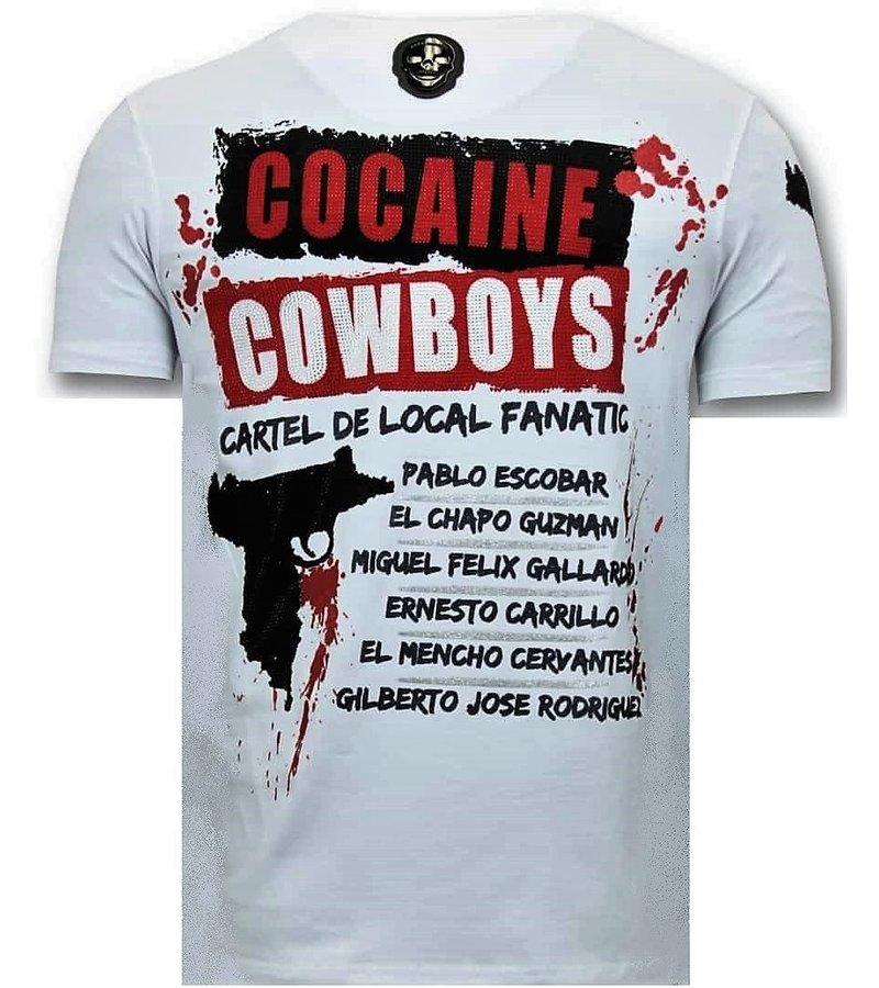 Local Fanatic Lyx Män T-shirt - Los Jefes The Narcos - 11-6372W - Vit