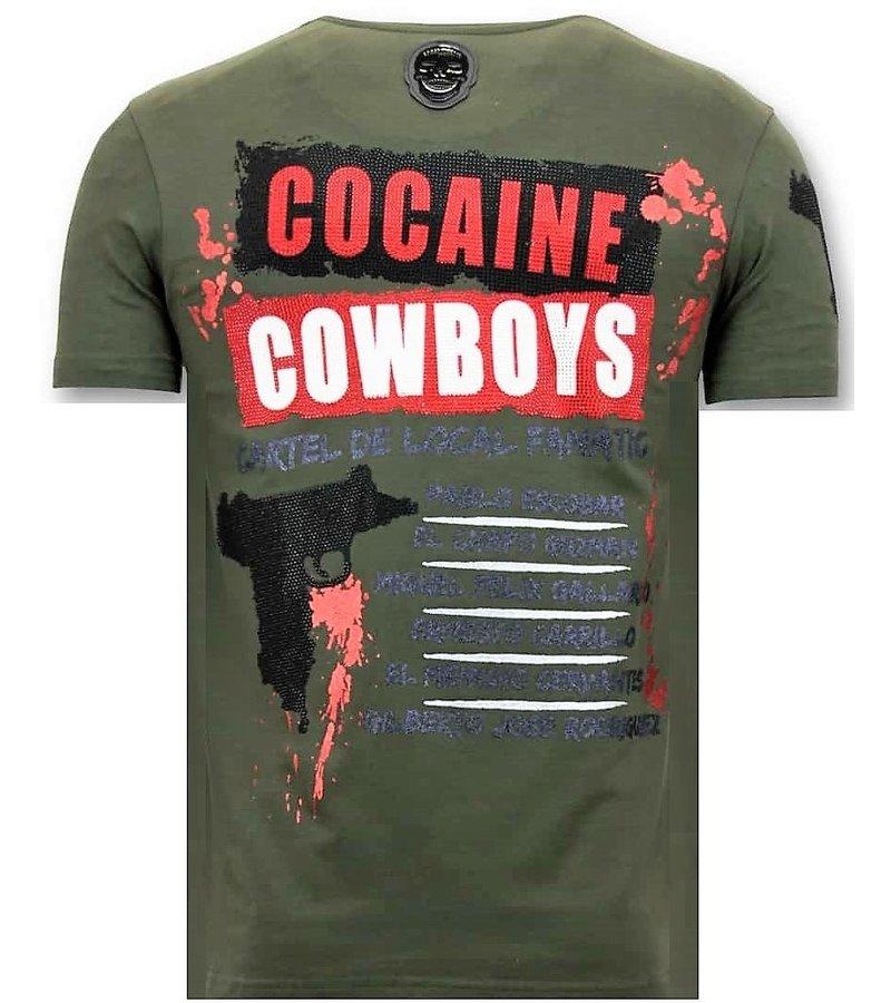 Local Fanatic Män T-shirt Rhinestone - Los Jefes The Narcos - 11-6372G - Grön