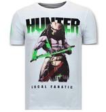 Local Fanatic Lyx Män T skjorta - Hunter Predator - 11-6370W - Vit