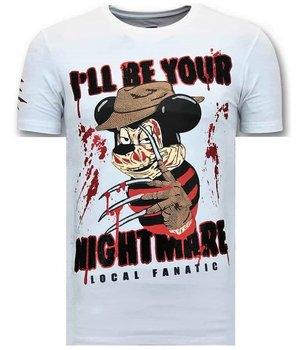 Local Fanatic Lyx Män T-shirt - Freddy Krueger - 11-6364W - Vit