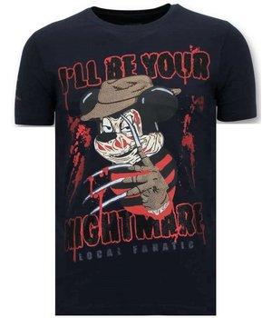 Local Fanatic Tuff Män T- shirt - Freddy Krueger - 11-6364B -  Blå