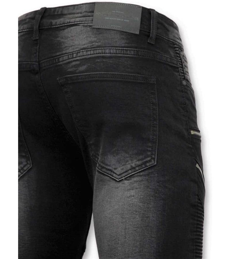 True Rise Lyx Herr Biker Jeans Zip -  Skinny Fit Trousers Män - 3025-2 - Svart